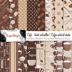Coffee (Natural shades) - Patterned Adhesive Vinyl (16 Different designs available)