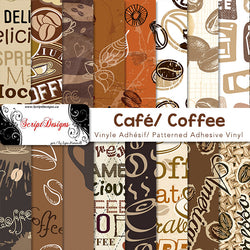 Coffee - Patterned Adhesive Vinyl (16 Designs)