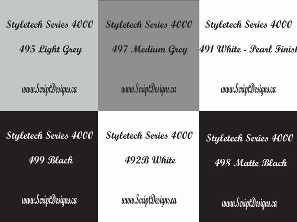 651 Equivalent Adhesive Vinyl (Styletech 4000) -  SHEETS and ROLLS - Blacks, Whites and Greys