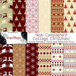 Cottage Christmas - Patterned Adhesive Vinyl  (12 Designs)