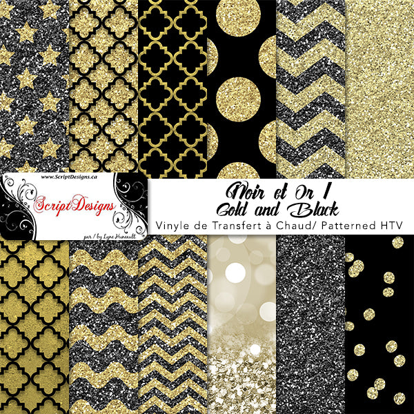 Black And Gold Patterned Htv 12 Different Designs
