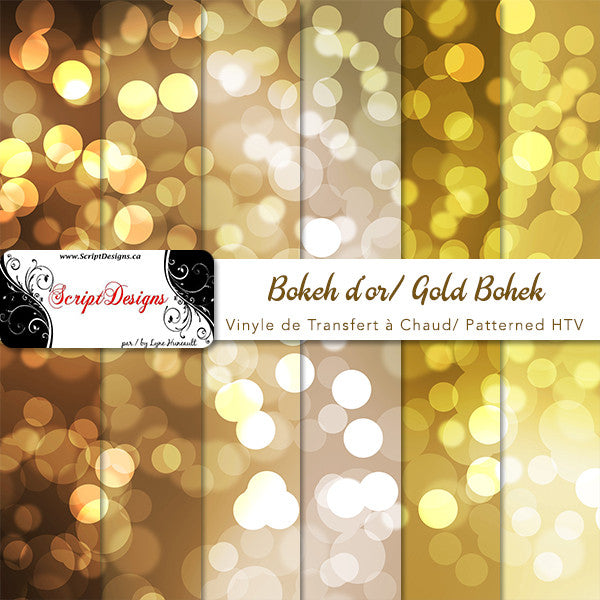 Gold Bokeh Patterned Htv 6 Different Designs Available