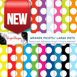 Dots Large- Patterned Adhesive Vinyl (20 different colours available)