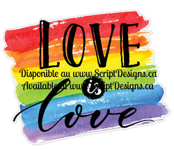 Love is Love Rectangle - Pride Collection (HTV - Iron On Decal)