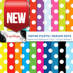Dots Medium - Patterned Adhesive Vinyl (20 different colours available)