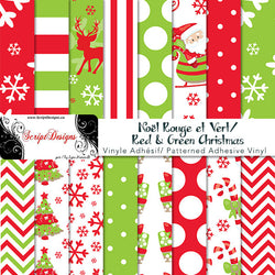 Christmas Red & Green - Patterned Adhesive Vinyl (16 Different designs available)