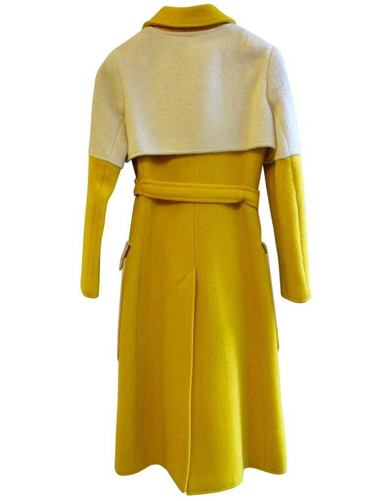 Designer, coat, wool, boiled wool, winter, belted, mod, 1960's, Correges, PierreCardin, vintage,