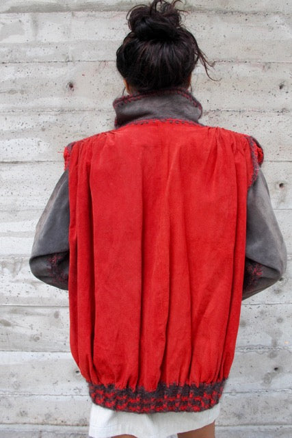 1980s Red and Grey Suede Bomber - SOLD