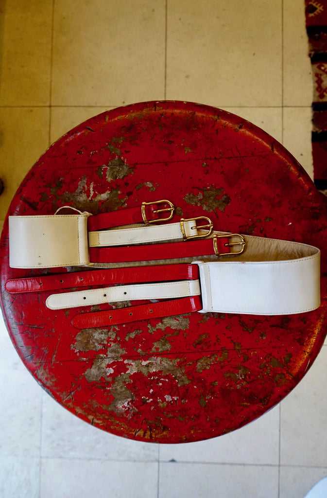1970's Celine Red and White Belt