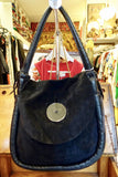 1980's Oversized Suede Black Button Bag