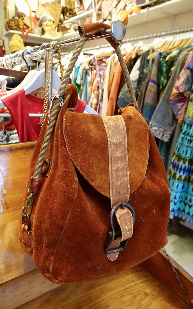 1970's Nautical Rope Rust Suede Bag - SOLD