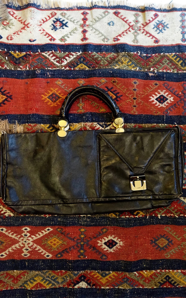 1970's Italian Long Black Leather Purse