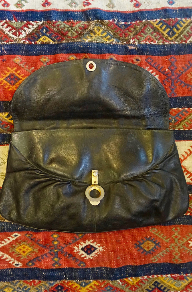 1960/1970's European Black Leather Clutch - SOLD