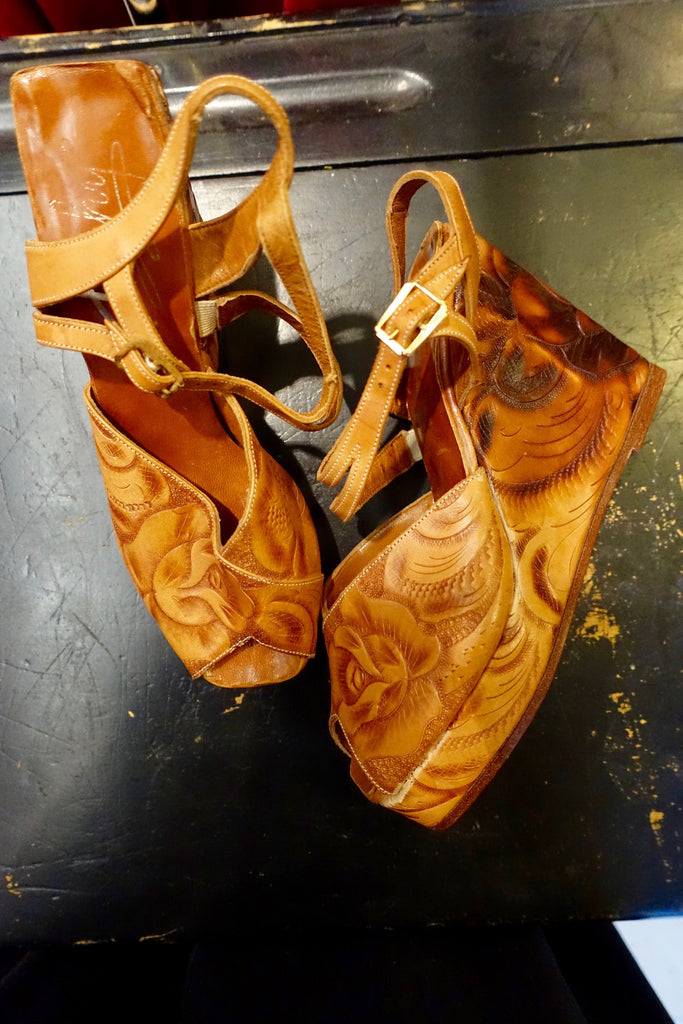 "1970's ""Trashy"" Tooled Leather Wedge Shoes - SOLD"