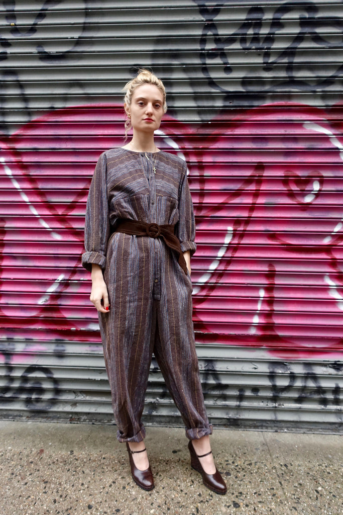 1980's Issey Miyake Plantation Striped Jumpsuit
