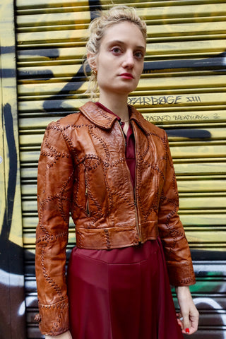 1970s Artisanal Brown Leather Coat