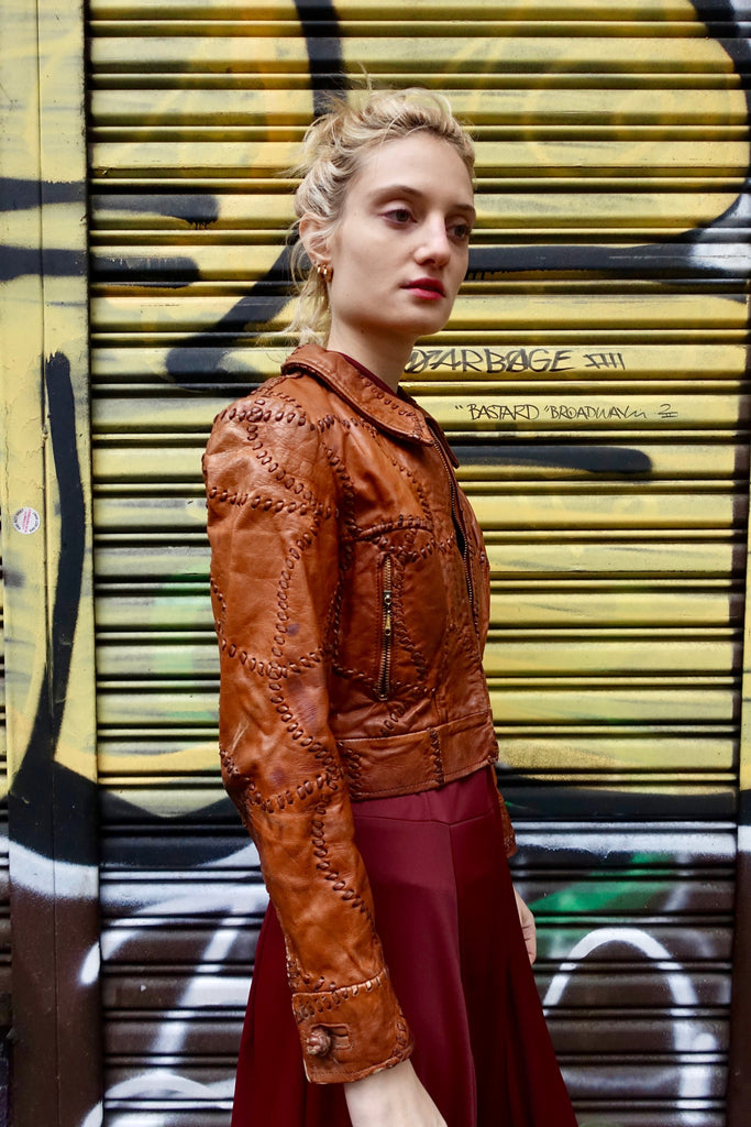 1970's Whipstitched Brown Leather Jacket - SOLD