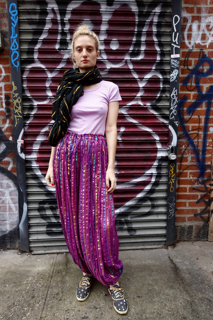 1970-80's Gauze Metallic Stripe Harem Pants - SOLD