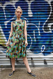 Early 1960's Green Floral Print Dress