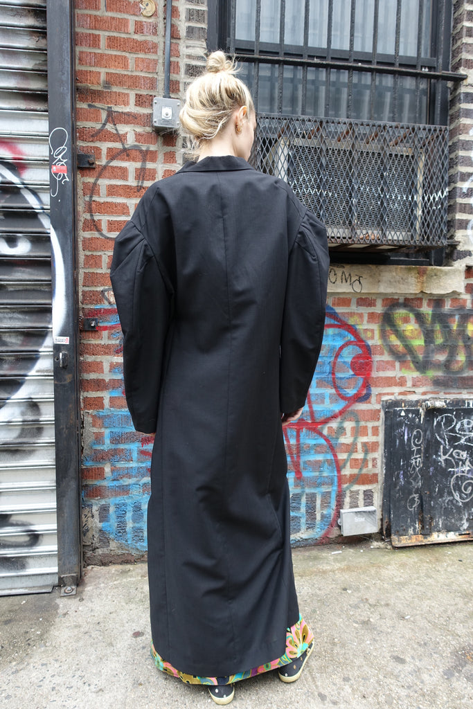 1980-90's Yohji Yamamoto Black Coat with Safety Pin Closure