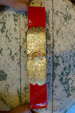 1960's Red Patent Leather Belt with Gold Stamped Buckle - SOLD