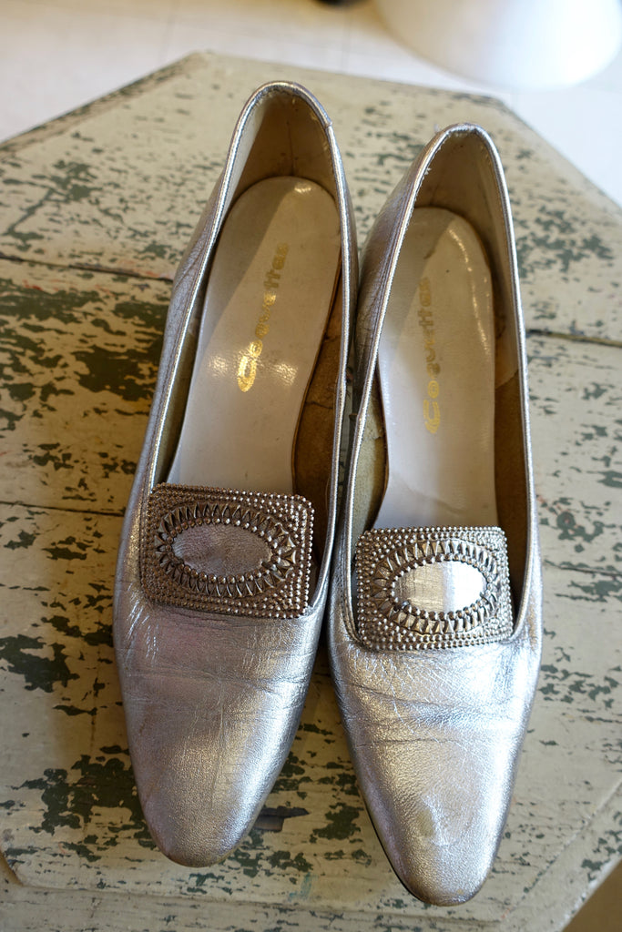 1960's Silver Lamé French Buckle Heels