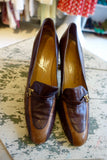 1960-70's Brown Leather Loafer Heels