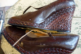 1970's Mario Valentino Brown Leather Braided Wedge Shoes - SOLD