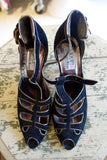 1980's Joop! by Ottorino Bossi Black Suede Heels with Metallic Trim