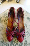 Early 1960's Red Leather T-Strap Heels - SOLD