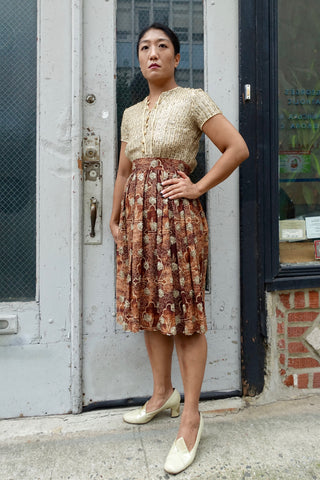 1940's Cocoa Eyelet Tiered and Toned Ombre Dress