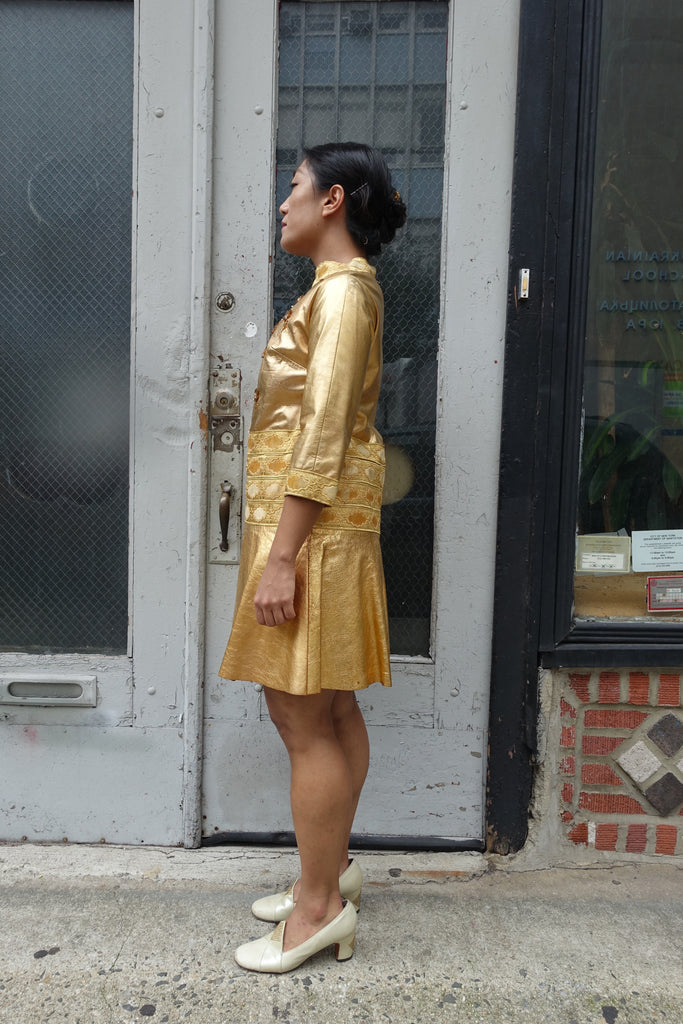 1960's Gold Leather Beaded Dress