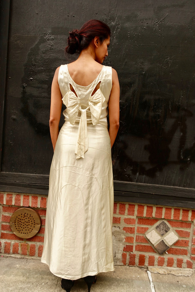 1930's White Satin Bow Dress - SOLD