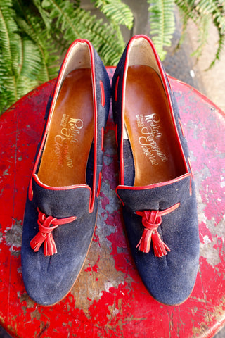 1970's Aigner Navy and Red Heeled Loafers - SOLD
