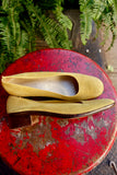 1970's Ferragamo Pear Yellow Suede Pumps - SOLD