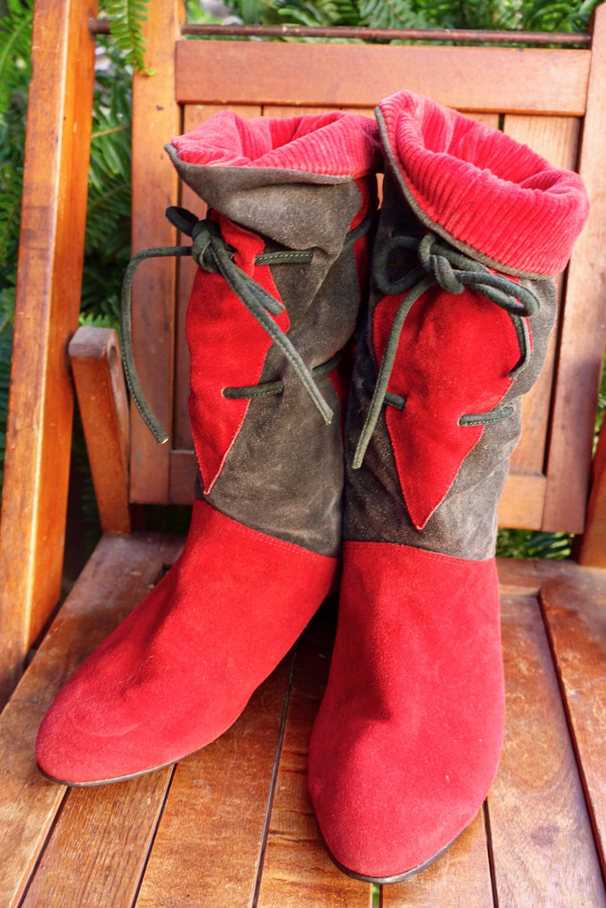 1980's Red and Gray Suede Harlequin Boots