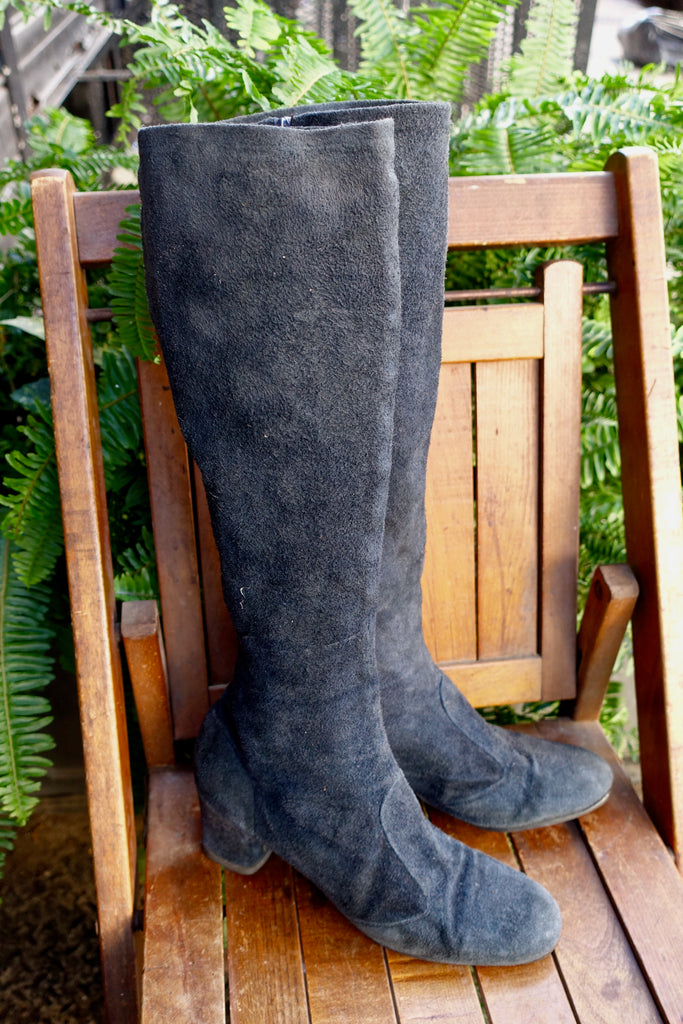 1970's Knee High Navy Suede Boots - SOLD