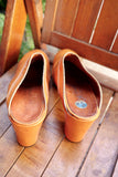 1970's Pale Orange Patent Leather Clogs - SOLD
