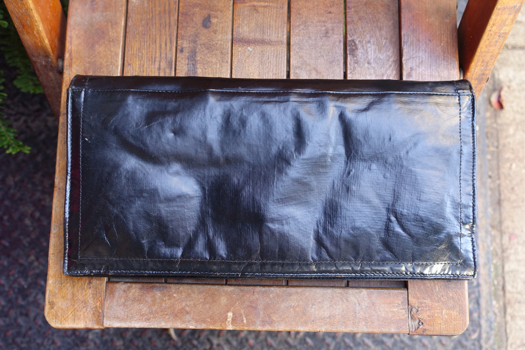 1970-80's Black Leather Long Clutch - SOLD