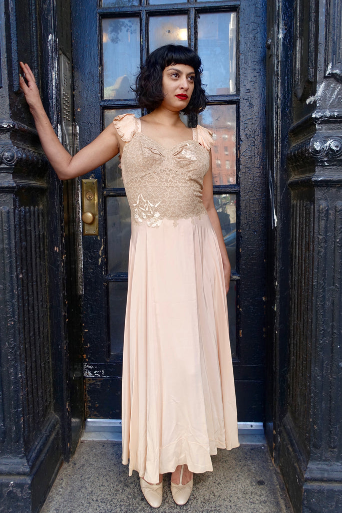 1930's Pale Peach Flower Appliqué and Lace Nightgown - SOLD