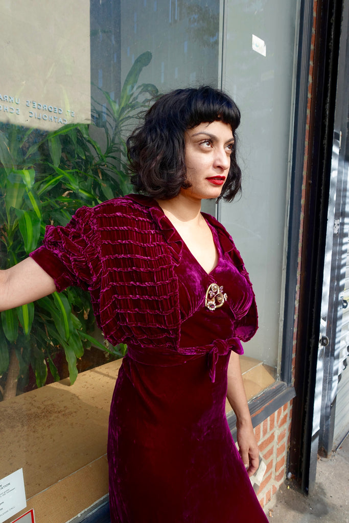 1930's Burgundy Velvet Dress and Jacket - SOLD