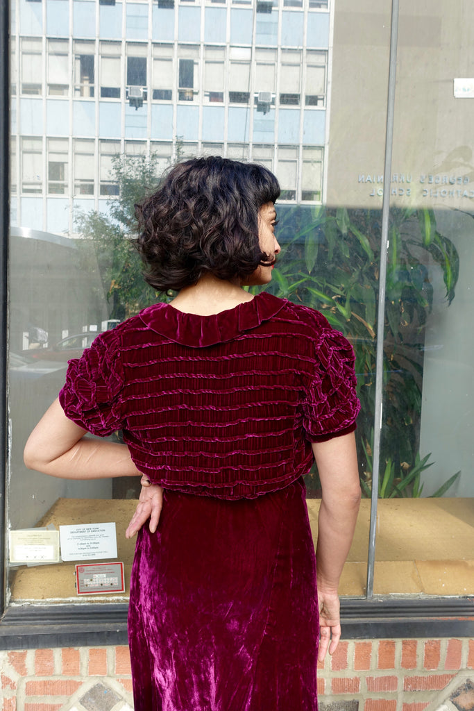1930's Burgundy Velvet Dress and Jacket