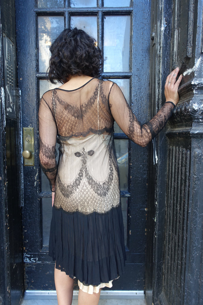 1920's Black Lace Dress and Vest