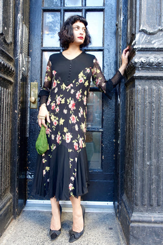 Wallis 1970s Floral Woven Dress - SOLD