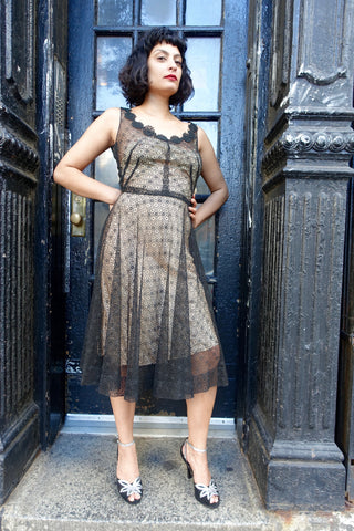 1960's Metallic Crochet Cocktail Dress - SOLD