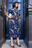 1940's Blue Floral Rayon Dress - SOLD