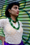 African Green Glass Trade Bead Necklace