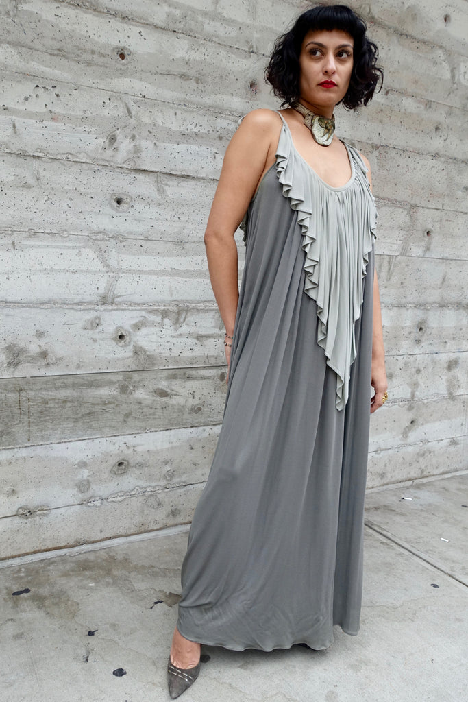 1970's Quorum Gray Ruffle Dress - SOLD
