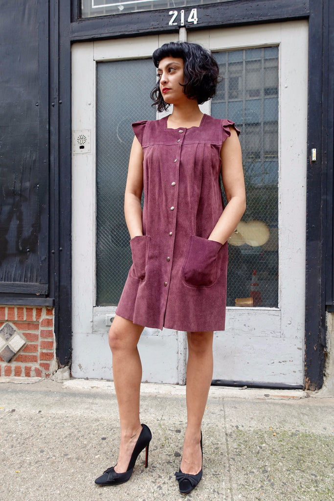 1970's Plum Suede Ruffle Sleeve Dress