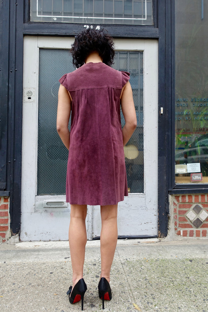 1970's Plum Suede Ruffle Sleeve Dress - SOLD